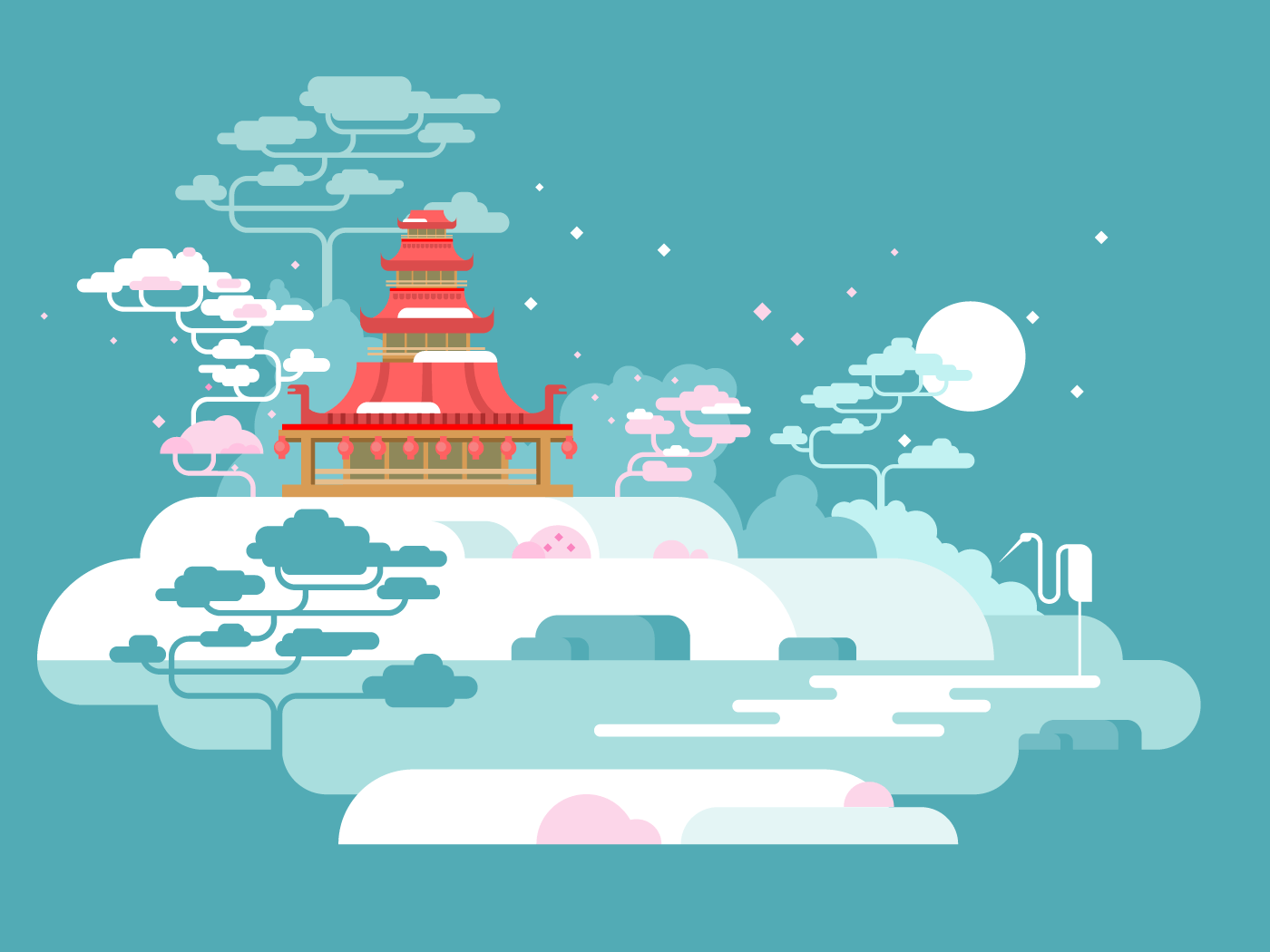 China painted landscape flat vector illustration