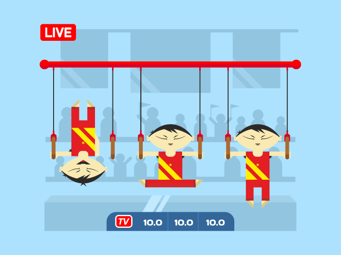Chinese gymnasts on rings flat vector illustration