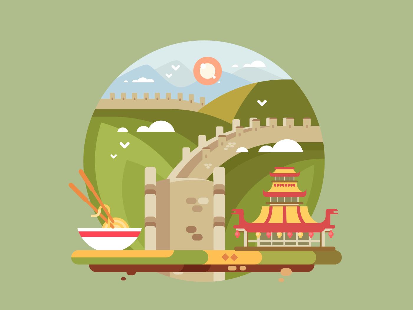 Great wall of china flat vector illustration