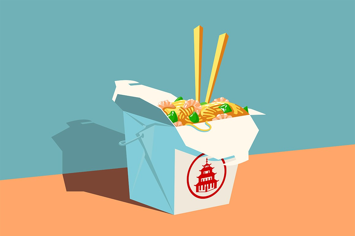 Chinese fast food vector illustration. Cardboard box with seafood noodles, greens and wooden chopsticks flat style design. Food to order and delivery concept