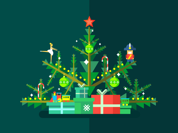 Christmas tree with toys flat vector illustration