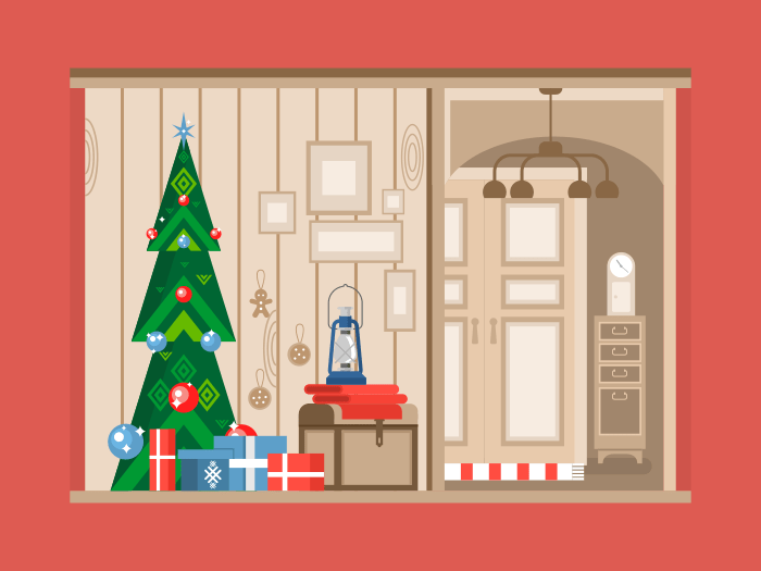 Christmas tree interior flat vector illustration