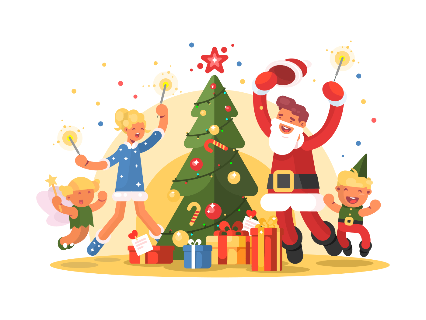 Happy family celebrating xmas illustration