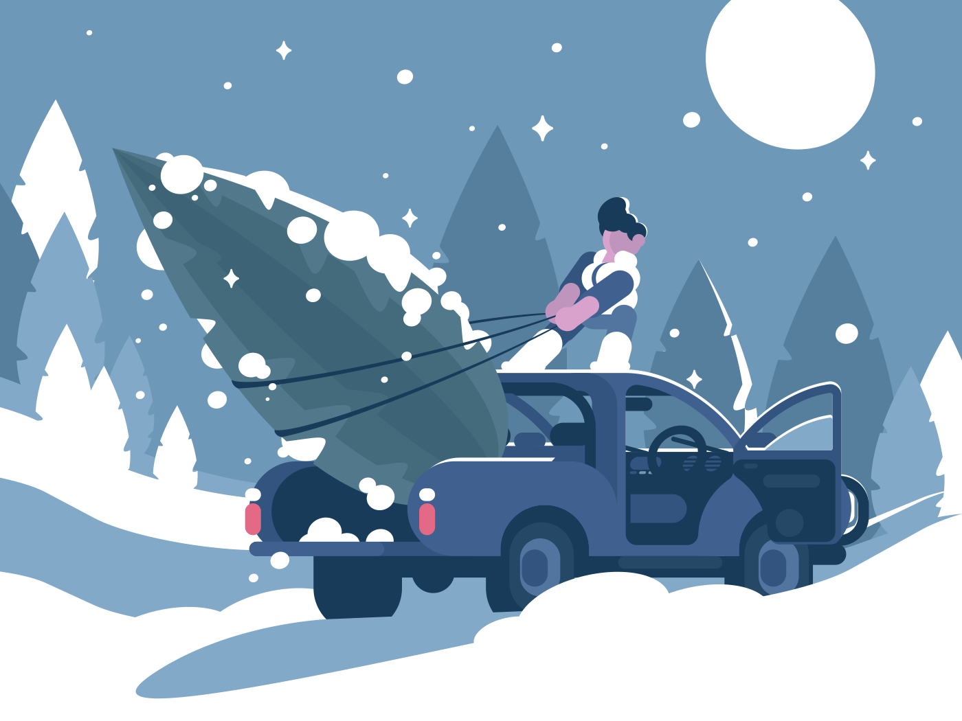 Man loading Christmas tree in car for holiday. Vector illustration