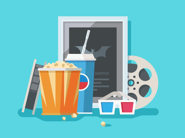 Cinema accessories flat vector illustration
