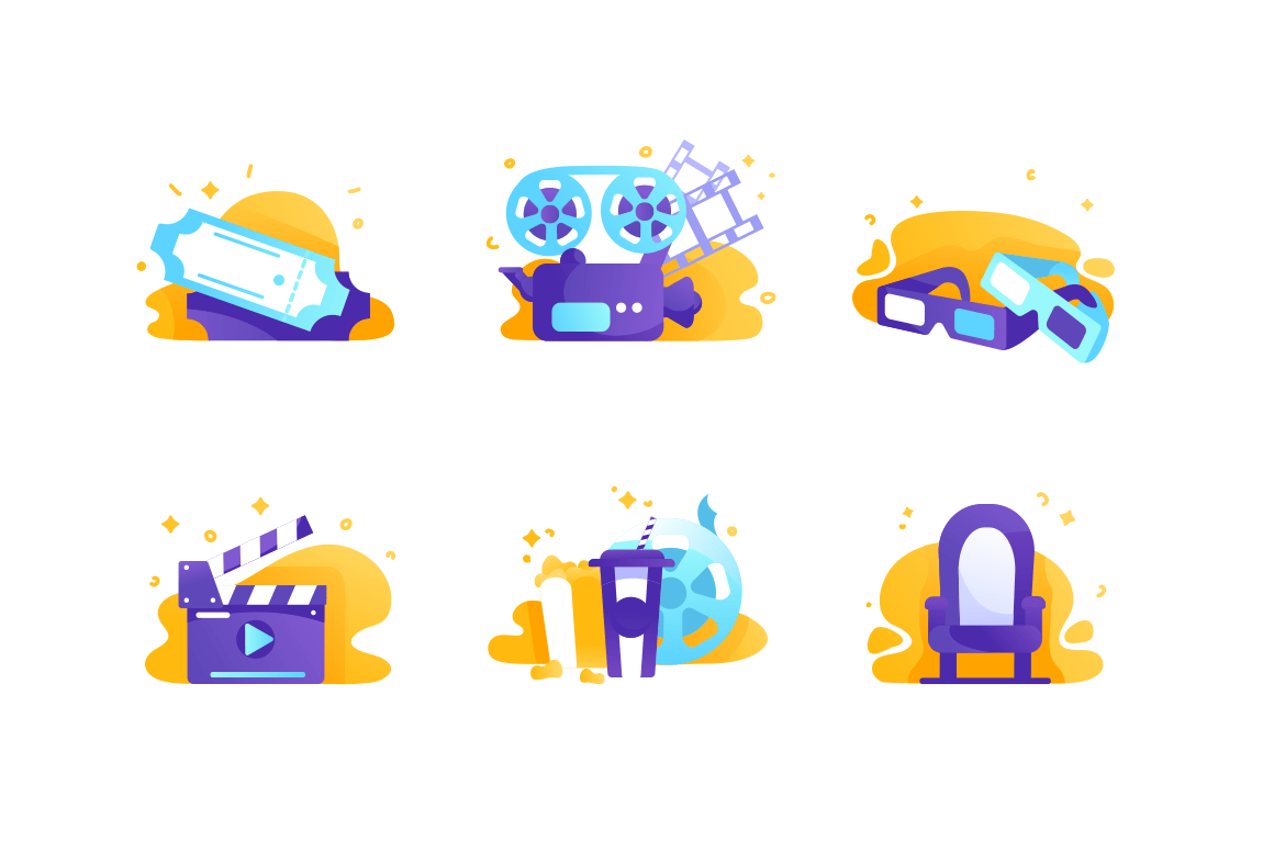 Set icons with cinema, tickets, chair, food, movie clapperboard.