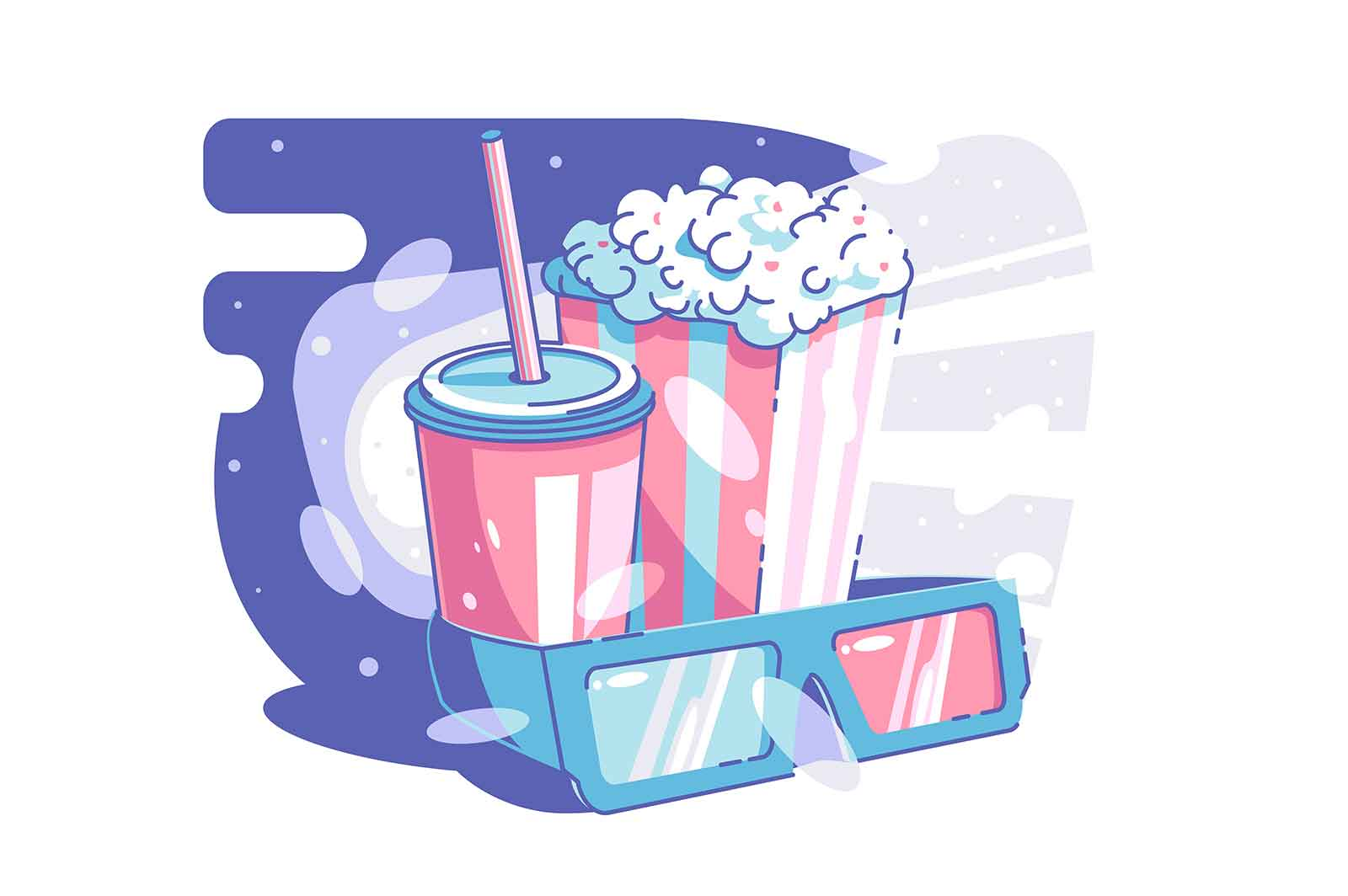 Cinema and snack time vector illustration. Tasty beverage popcorn and glasses for 3d movie flat style. Leisure time and weekend concept. Isolated on white background