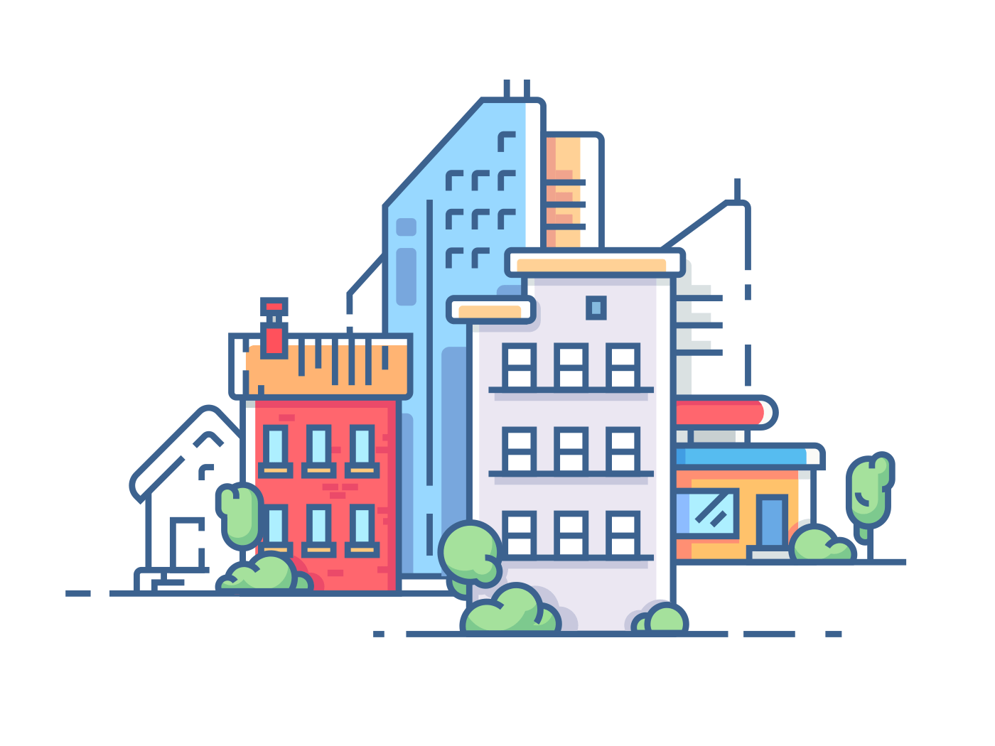 City color apartment house illustration