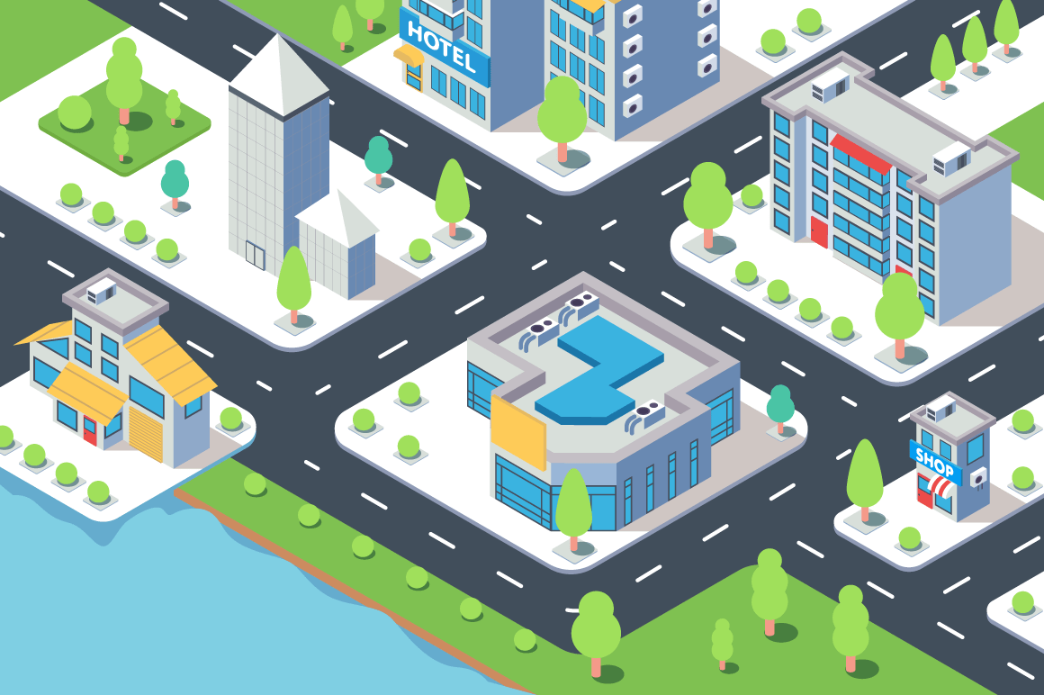 3d isometric city building with hotel, shop, river and natural tree.