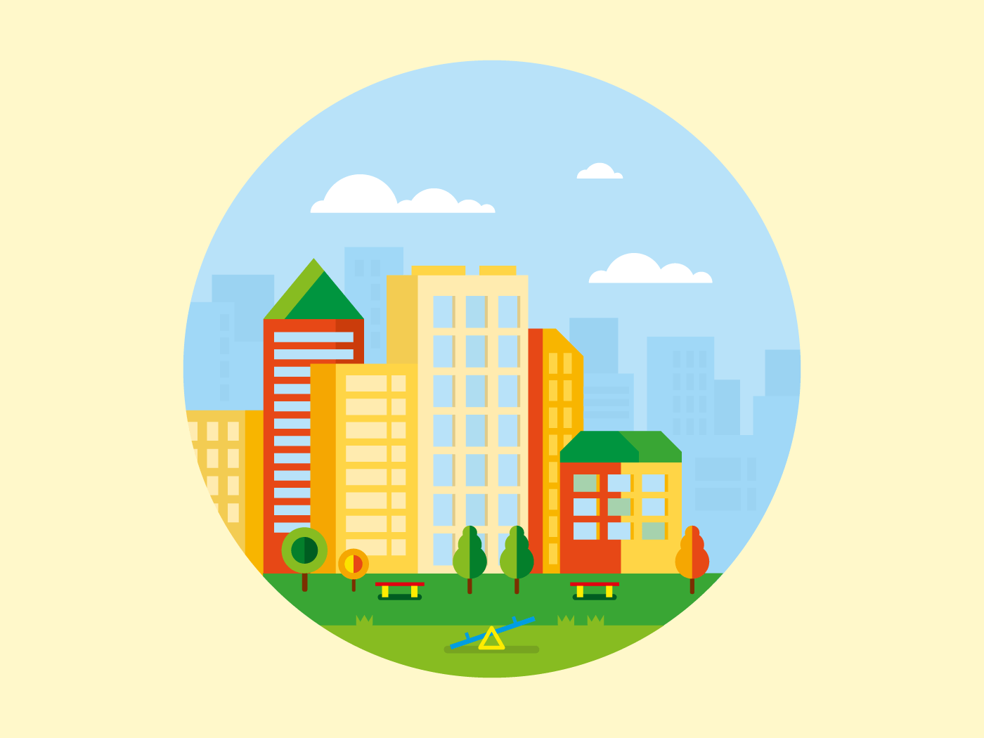 City landscape with playground in front of it concetp flat illustration flat vector illustration