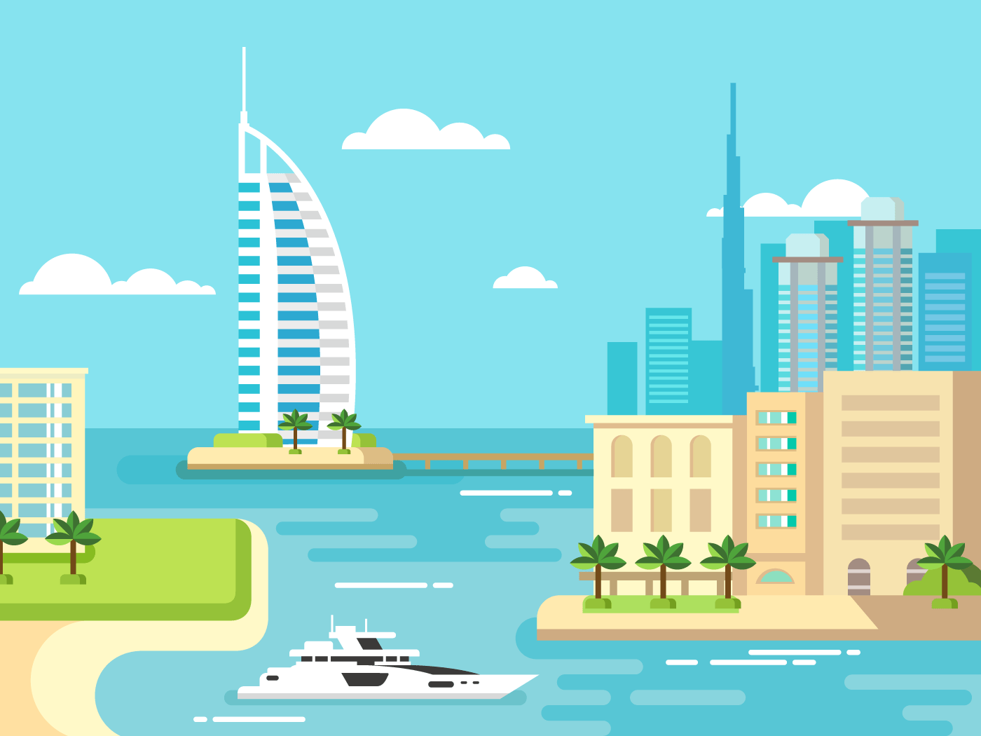 Dubai city beach skyline flat illustration