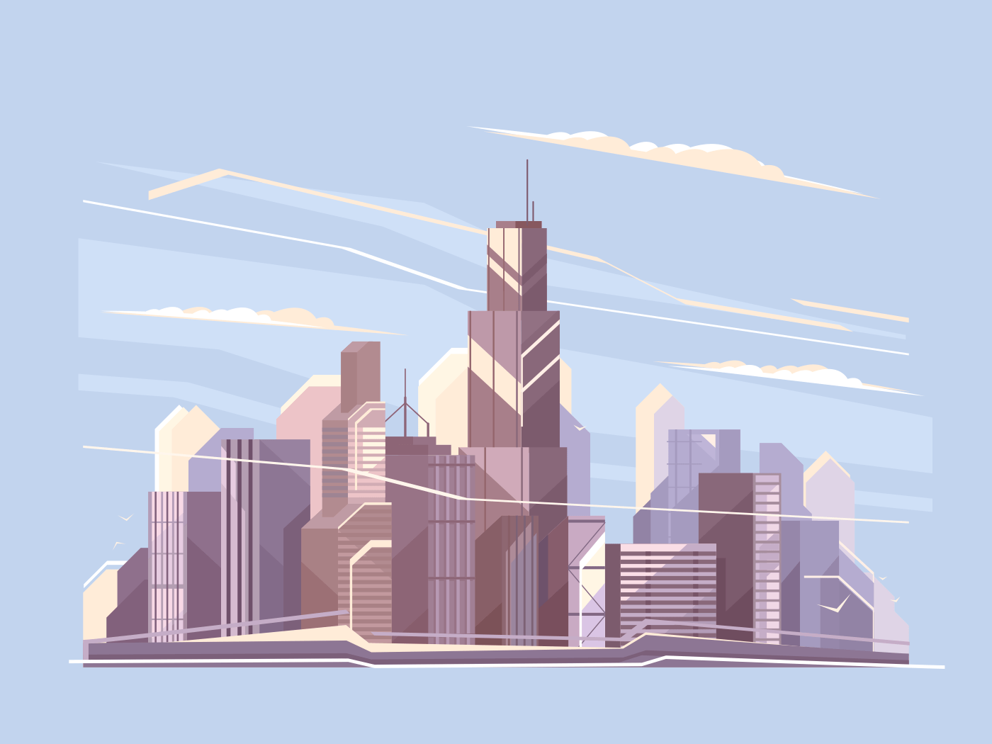 City landscape with skyscrapers illustration