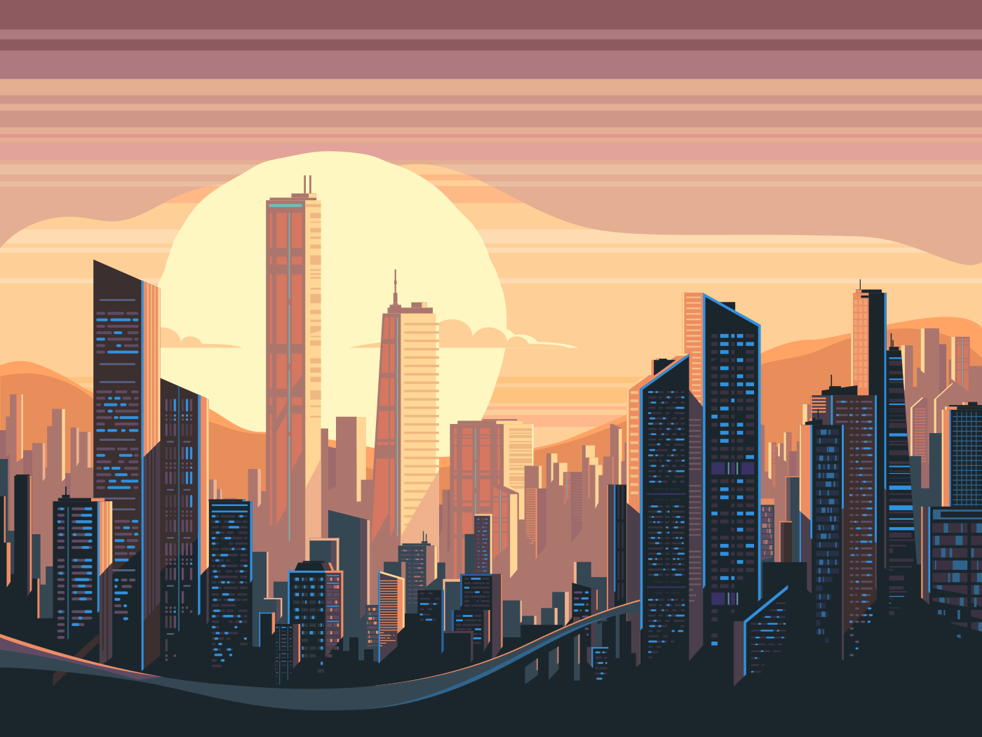 Sunrise landscape in city