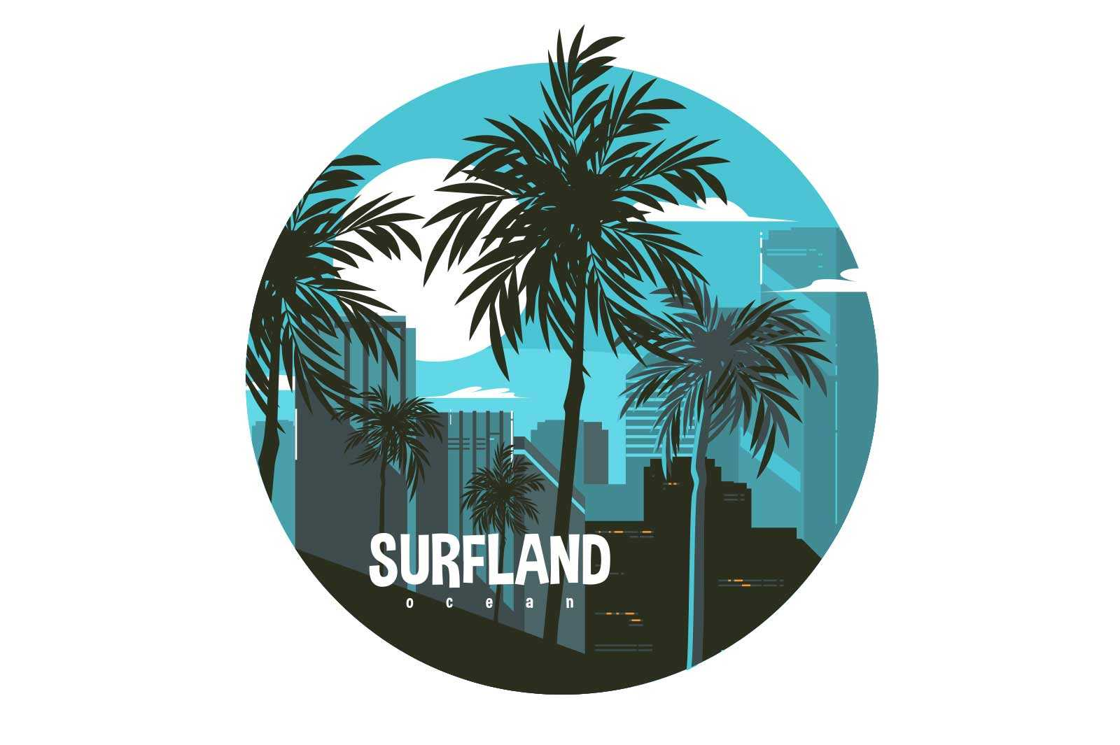 View of night city vector illustration. Full moon and palm trees flat style. Surfland ocean inscription. Summer and vacation concept. Isolated on white background