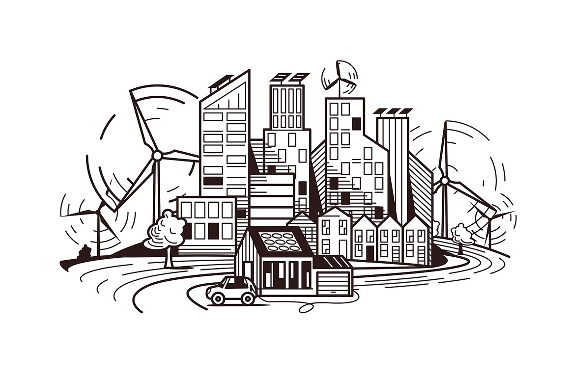Clean electricity environment vector illustration. Environmentally friendly city flat style design in black, white colours. Town landscape with windmills. Green energy and renewable resources concept