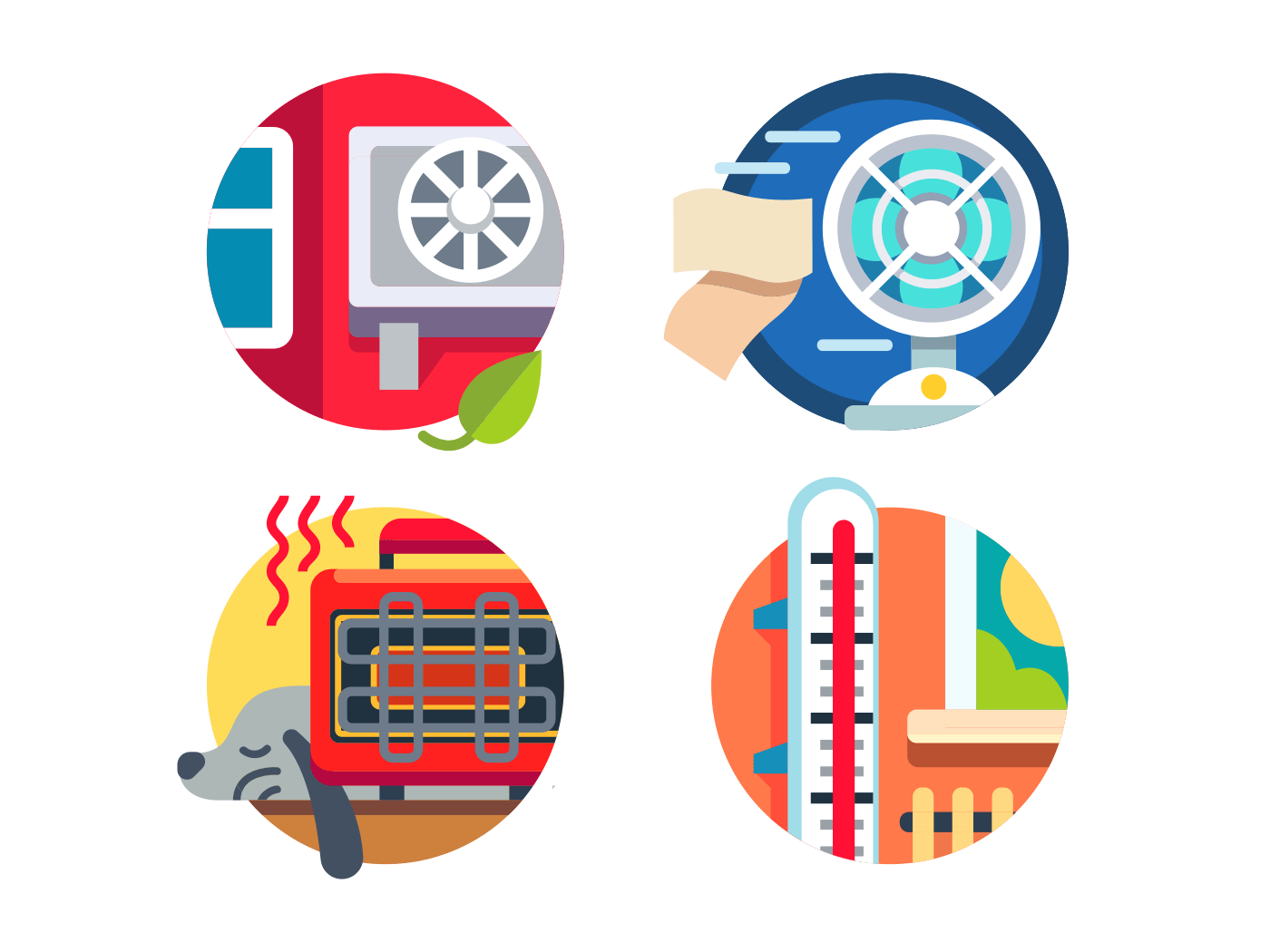 Climate control flat vector icons