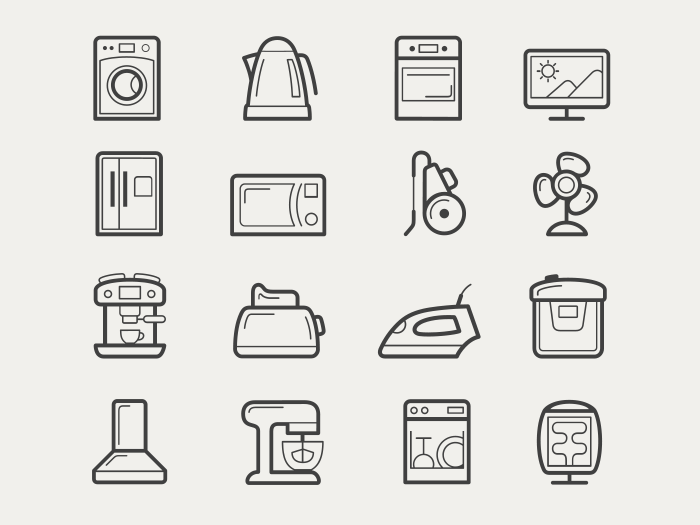 Home appliances vector icon set