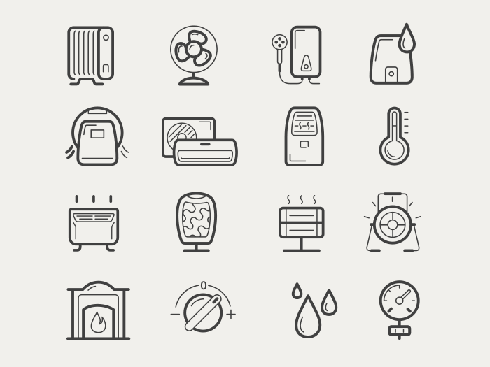 Vector climatic equipment icon set