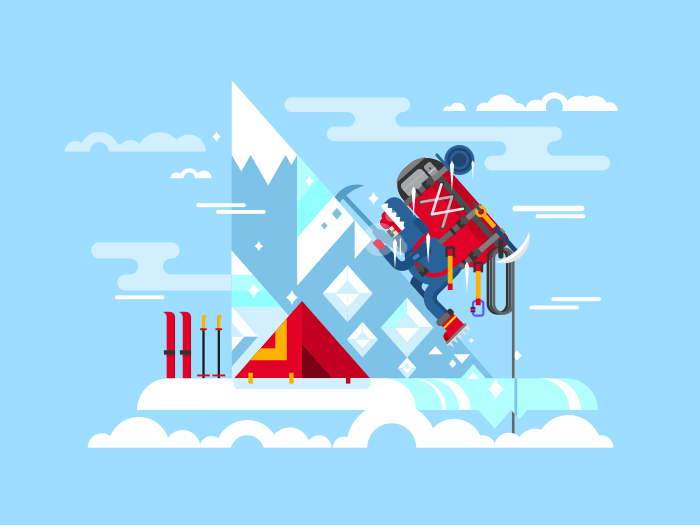 Climber conquers the summit flat vector illustration