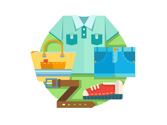 Set of clothes flat illustration