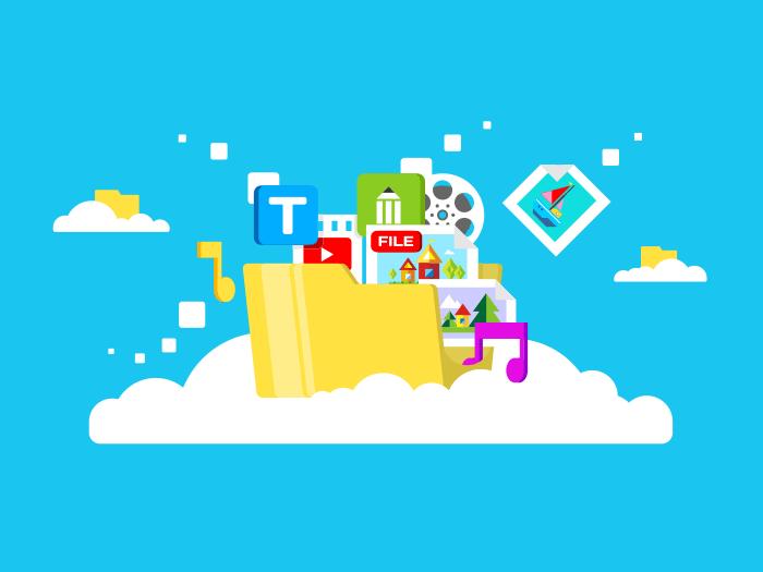 Cloud media files storage flat vector illustration