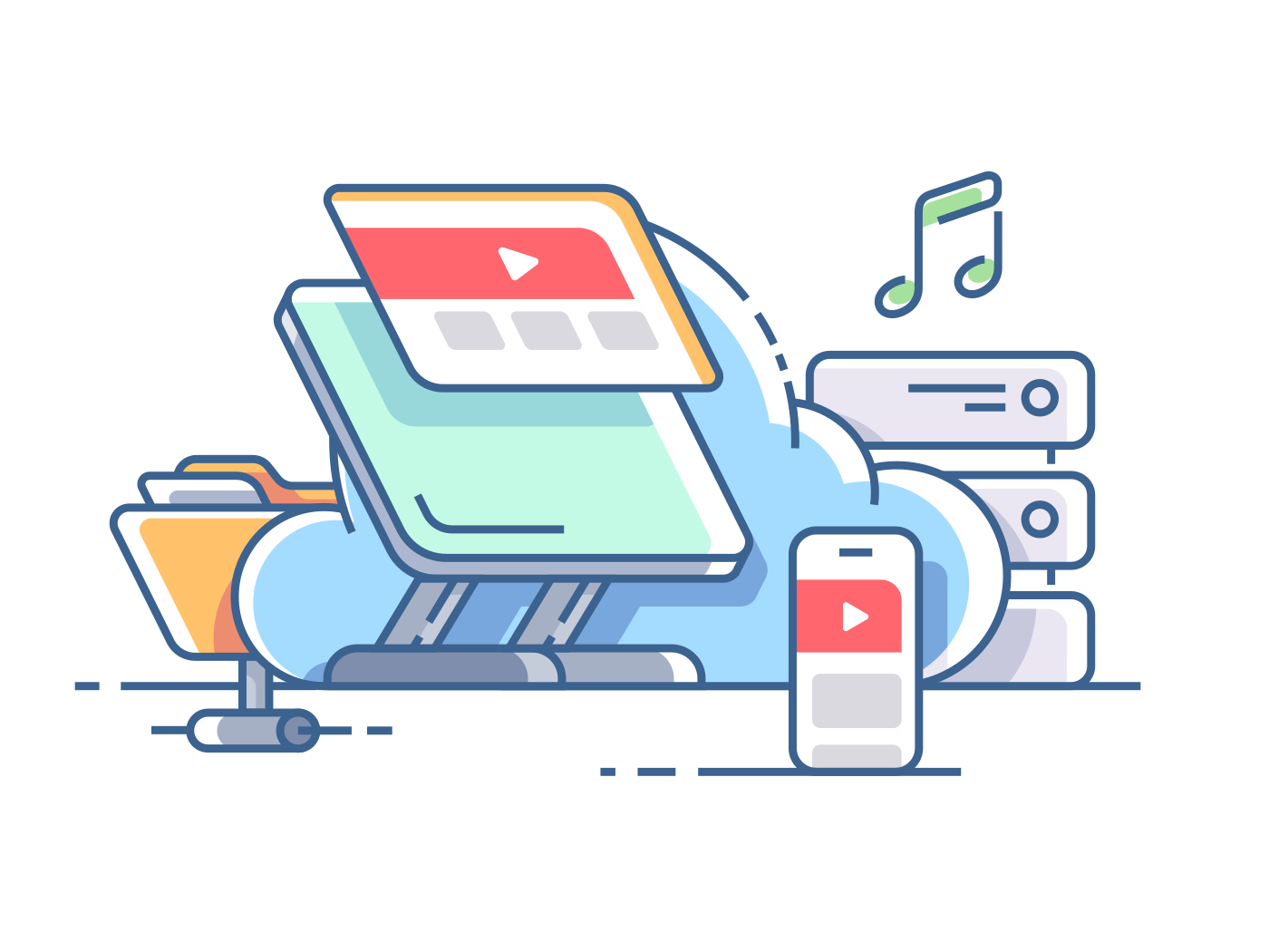 Cloud data storage. Syncing music with gadget. Vector flat illustration