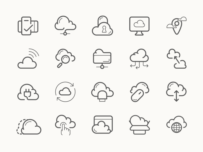 Cloud service hosting line icons