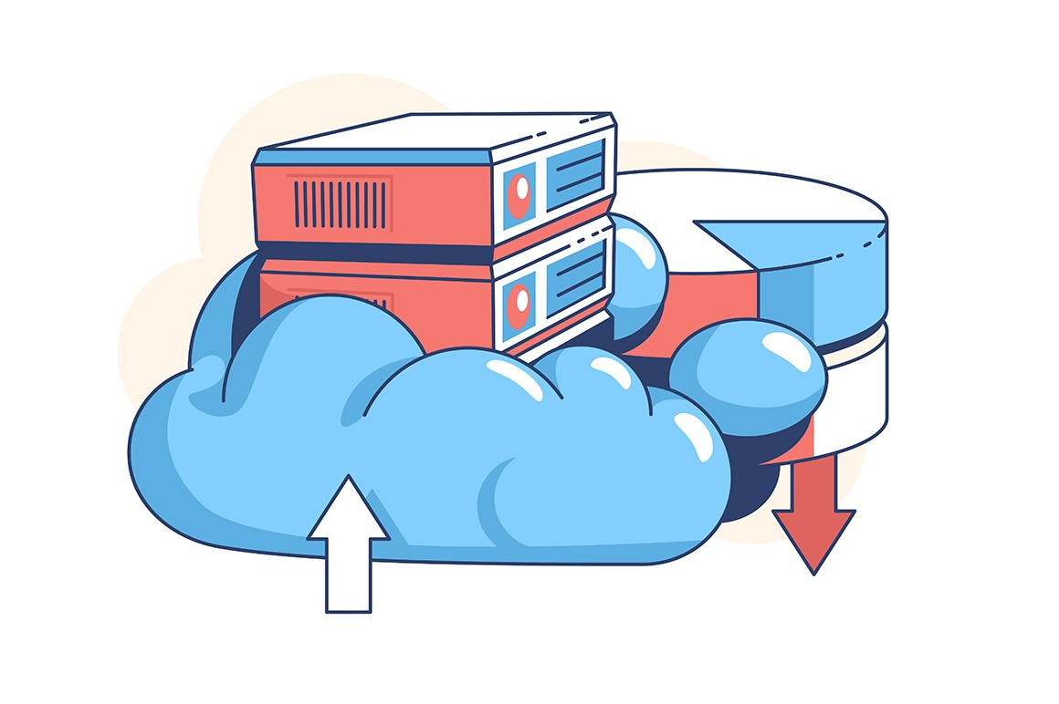 Data cloud storage vector illustration. Digital service or app with information transferring flat style. Backup. Online computing technology concept. Isolated on white background