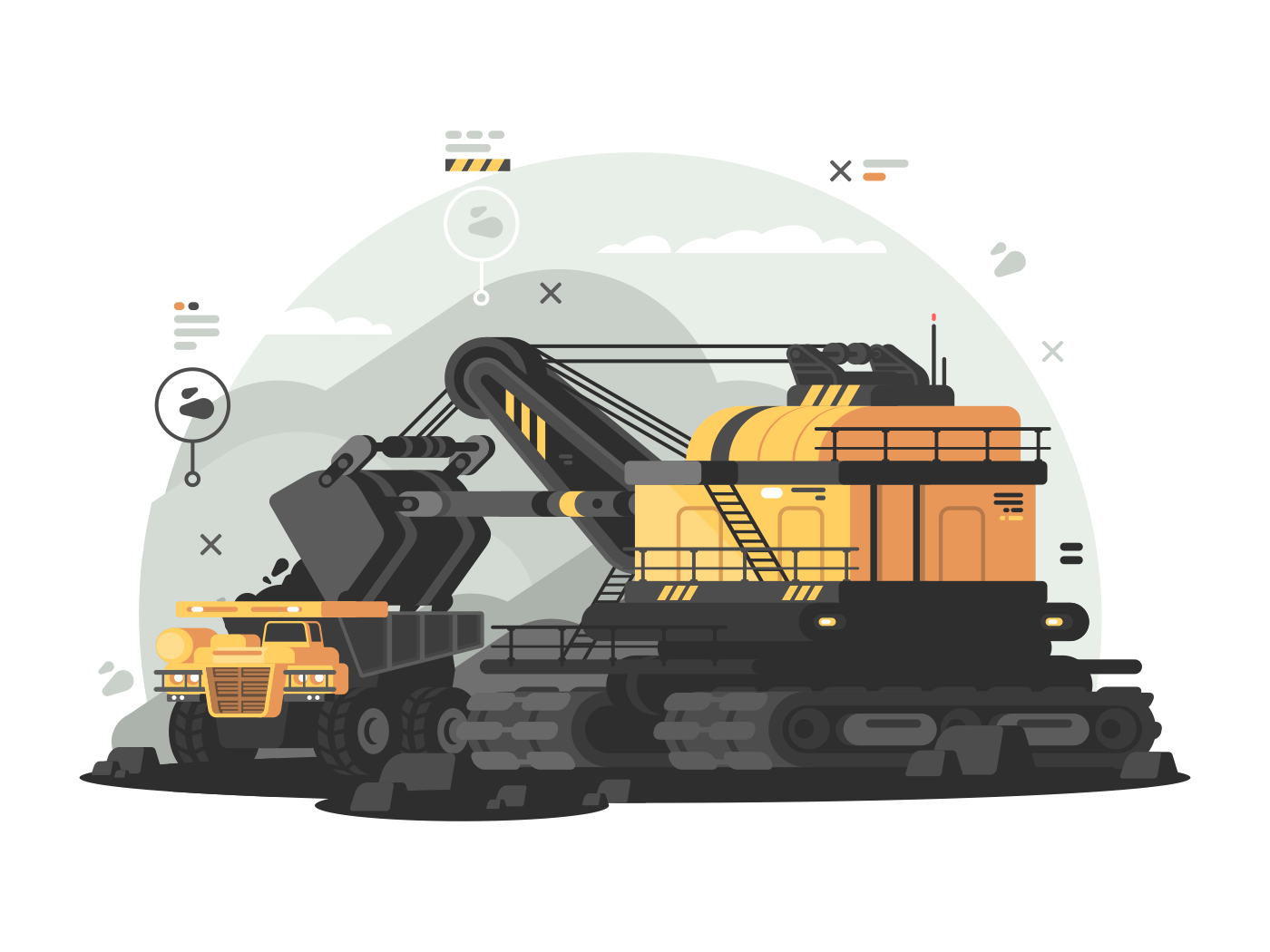 Heavy machinery for coal mining. Fuel and energy industry. Vector illustration