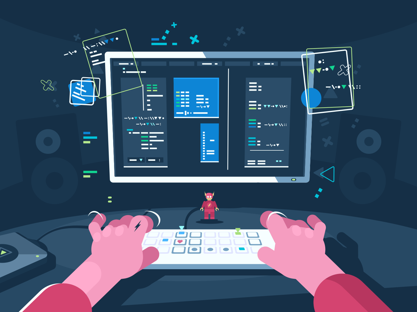 Programming and coding. Programmer writes new program. Vector flat illustration