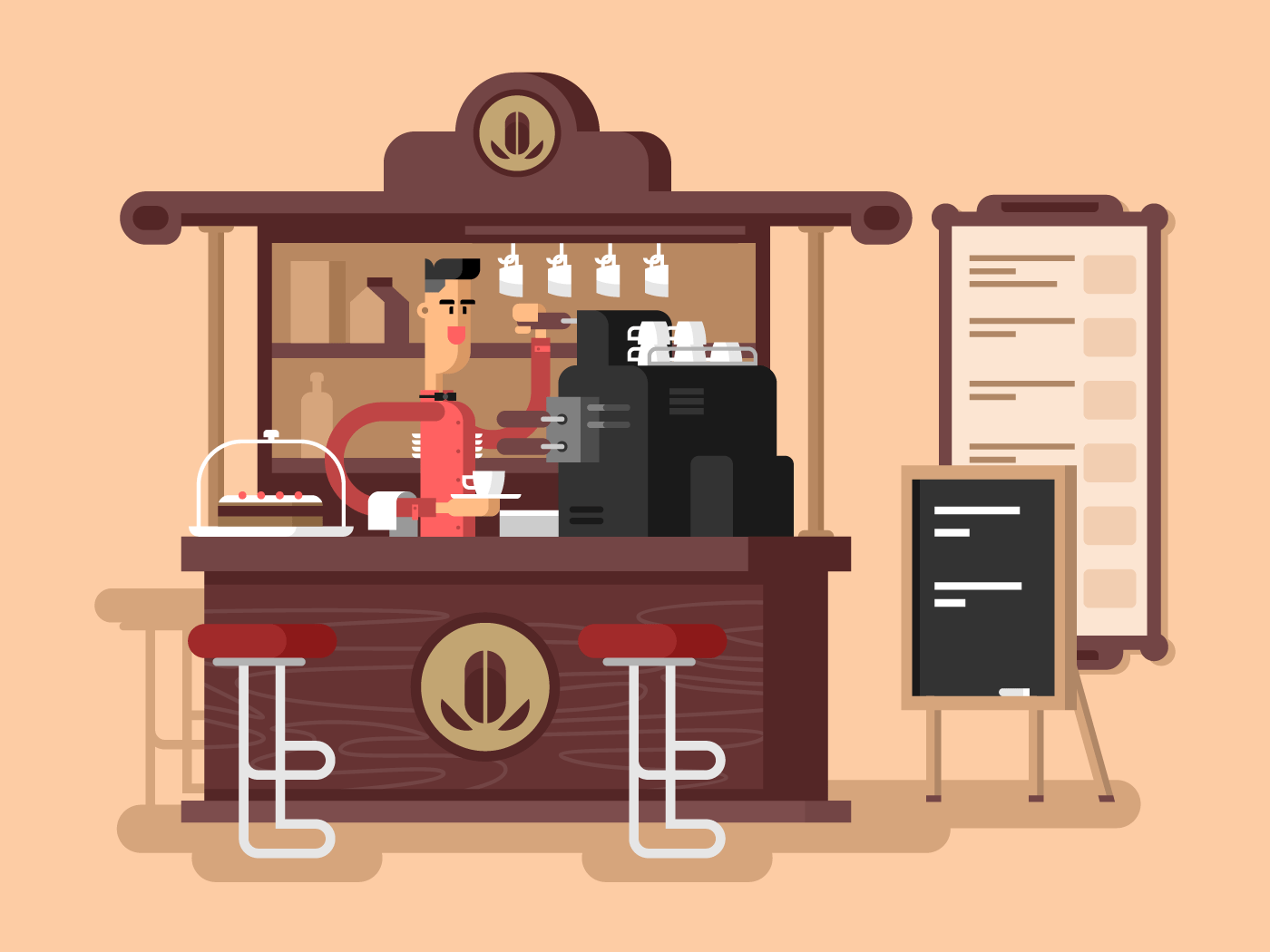 Coffee shop interior flat vector illustration
