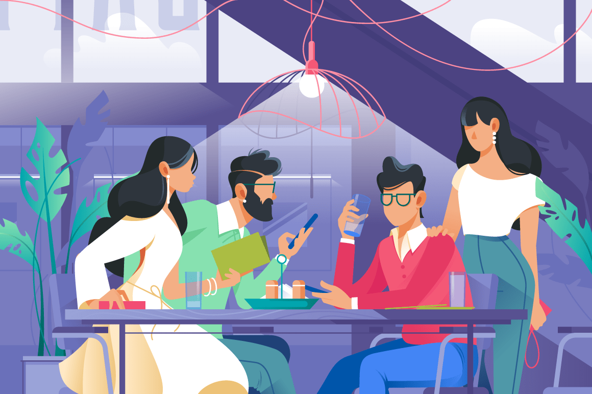 Flat company with woman and man in cafe drinking.