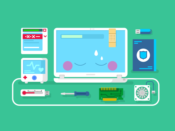 Computer repair flat vector illustration