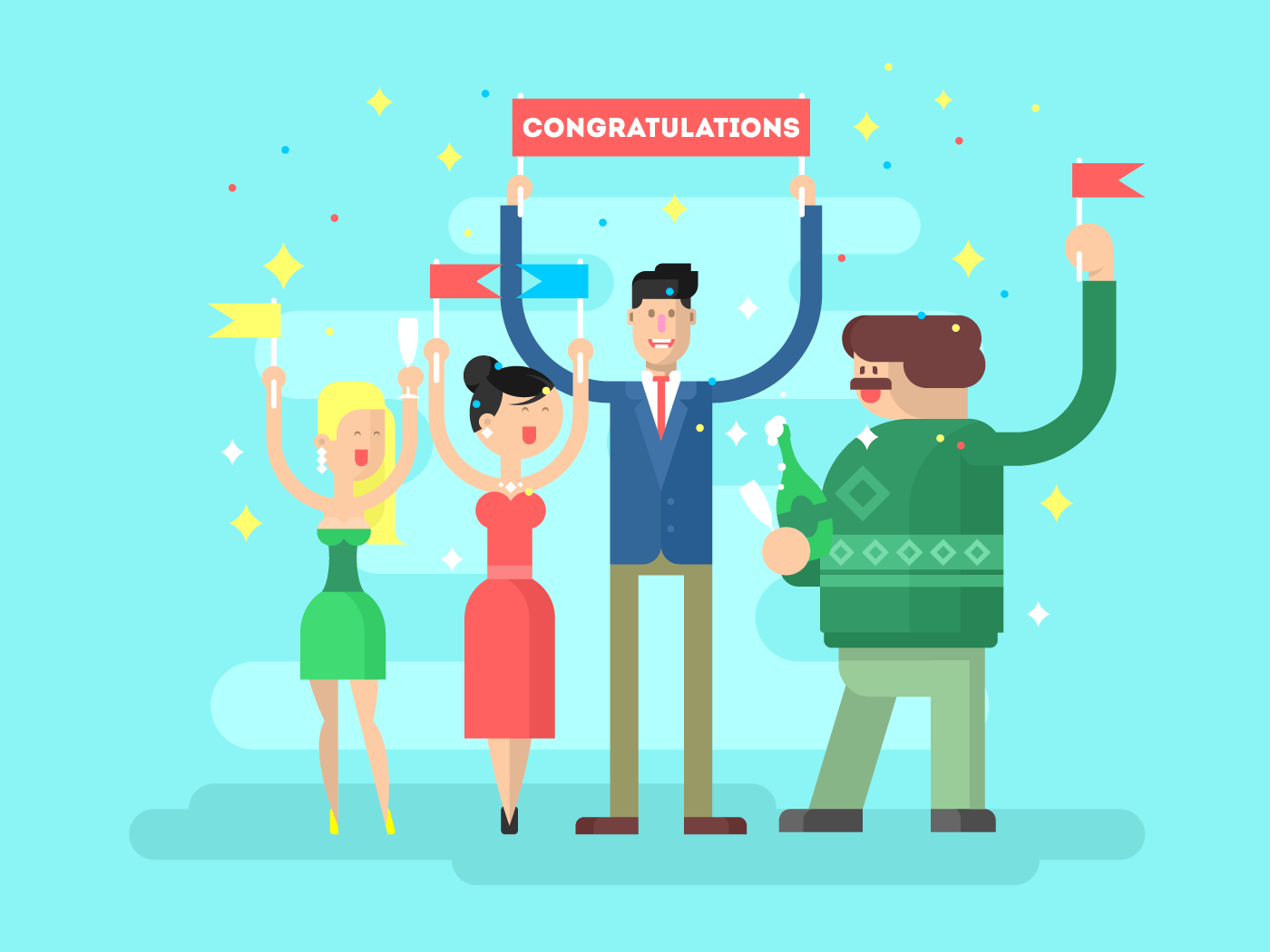 Congratulations group people flat vector illustration