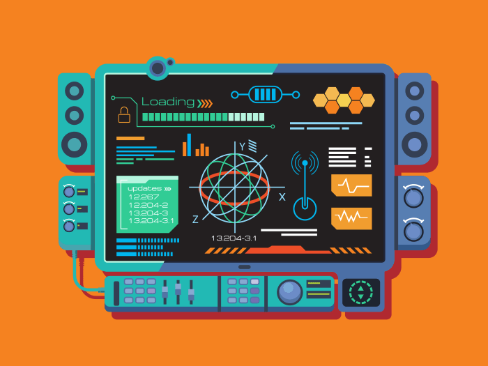 Abstract control panel flat vector illustration
