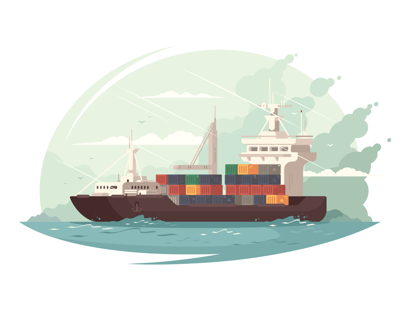 Container ship in sea illustration