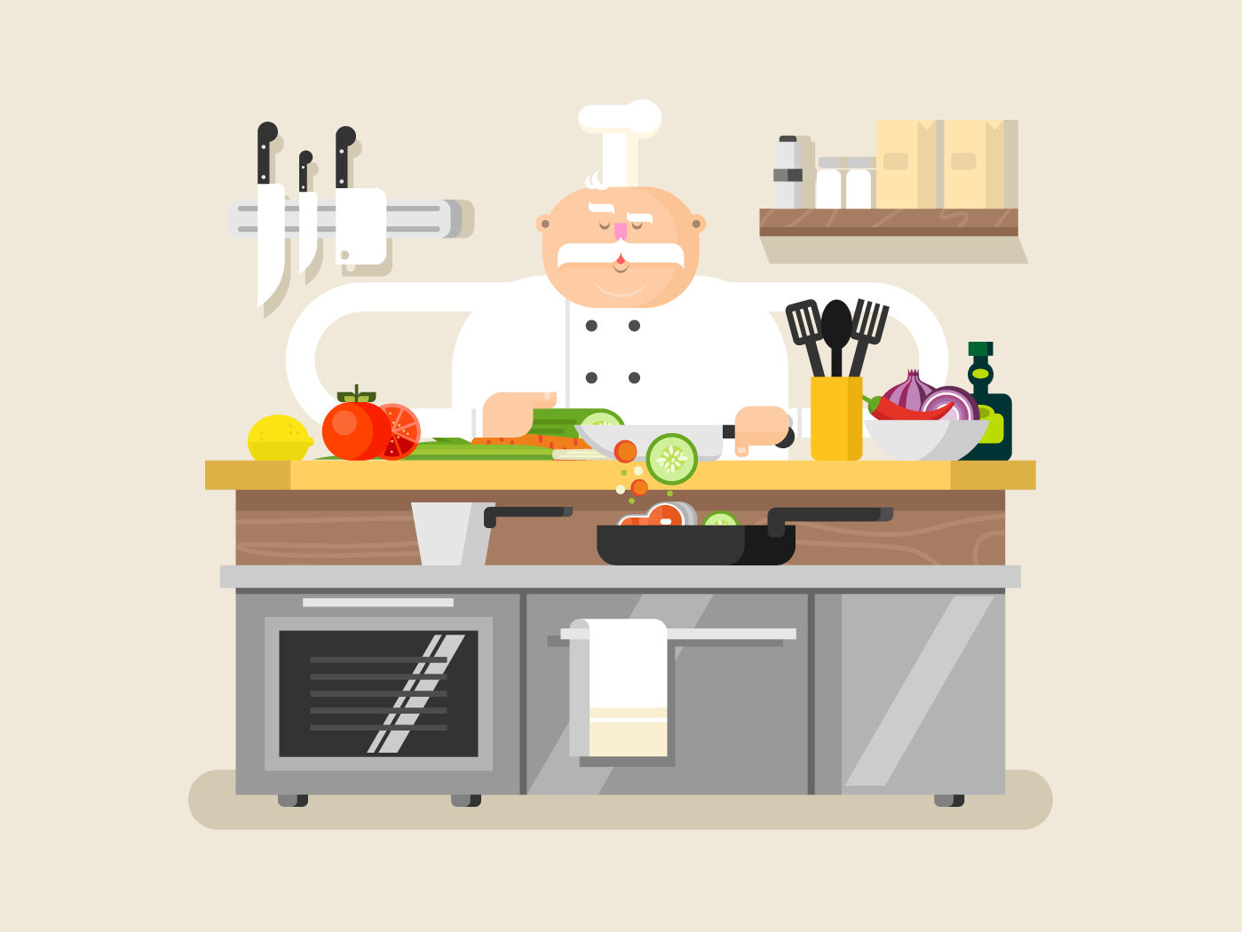 Cook character man flat vector illustration