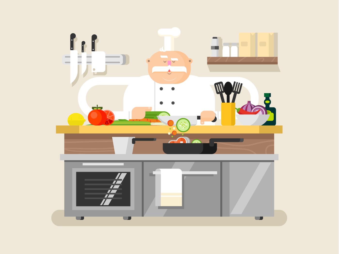 Cook character man flat vector illustration