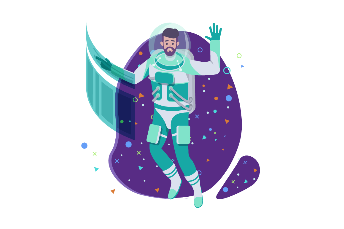 Flat young man cosmonaut with beard and future interface in space.