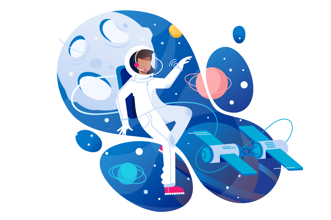 Flat young man cosmonaut in space with spacesuit.
