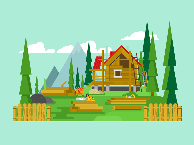 Cottage construction flat vector illustration