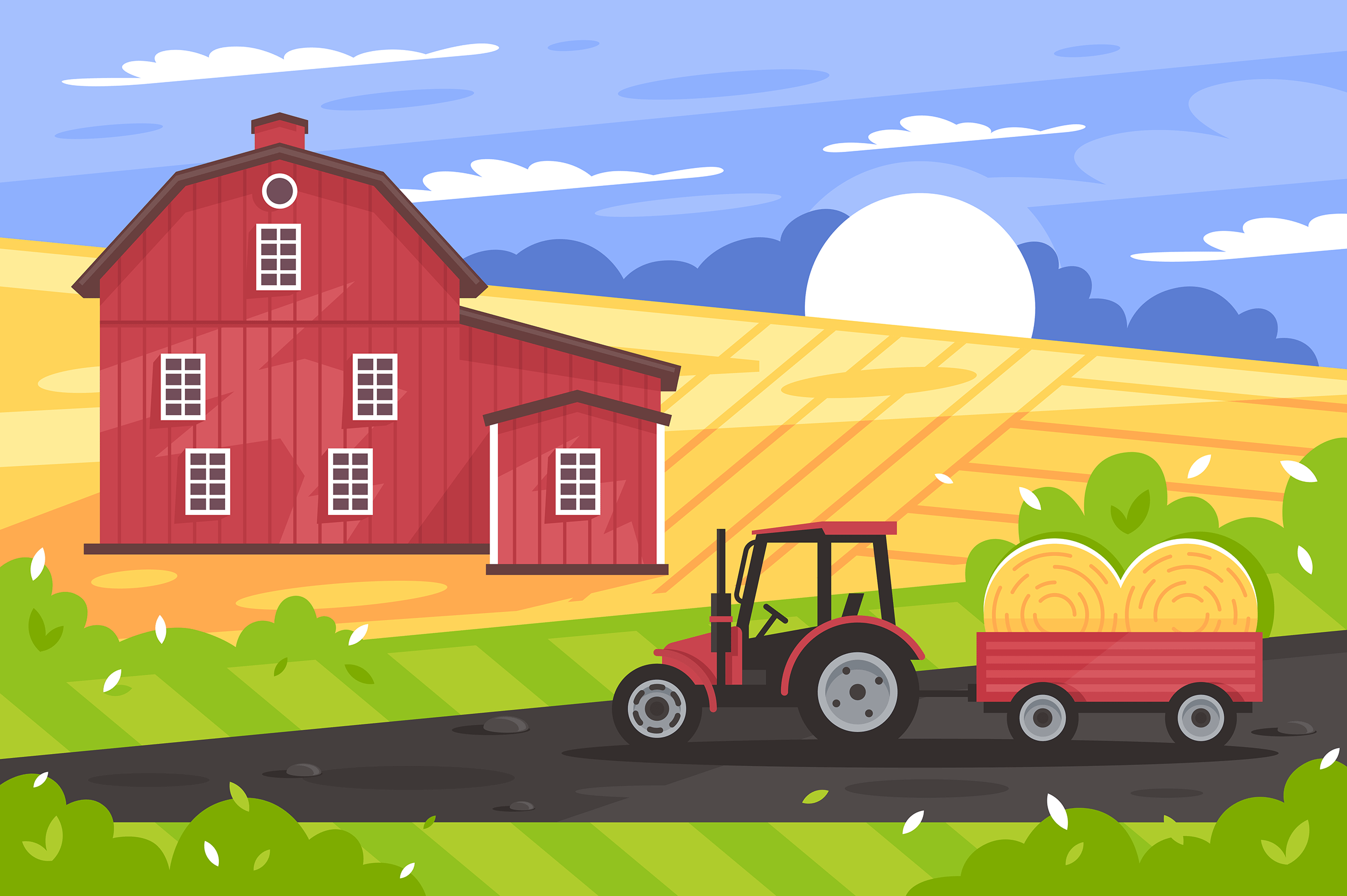 Flat countryside landscape with farm house, road, tractor, field and hay.