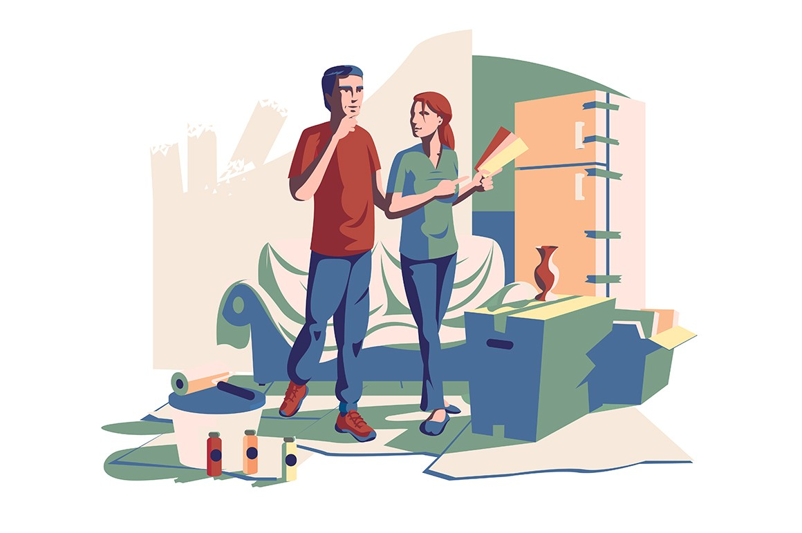 Couple choosing color of new design vector ikllustration. Man and woman discussing suitable palette of shades for home interior flat style concept. Renovation of apartments