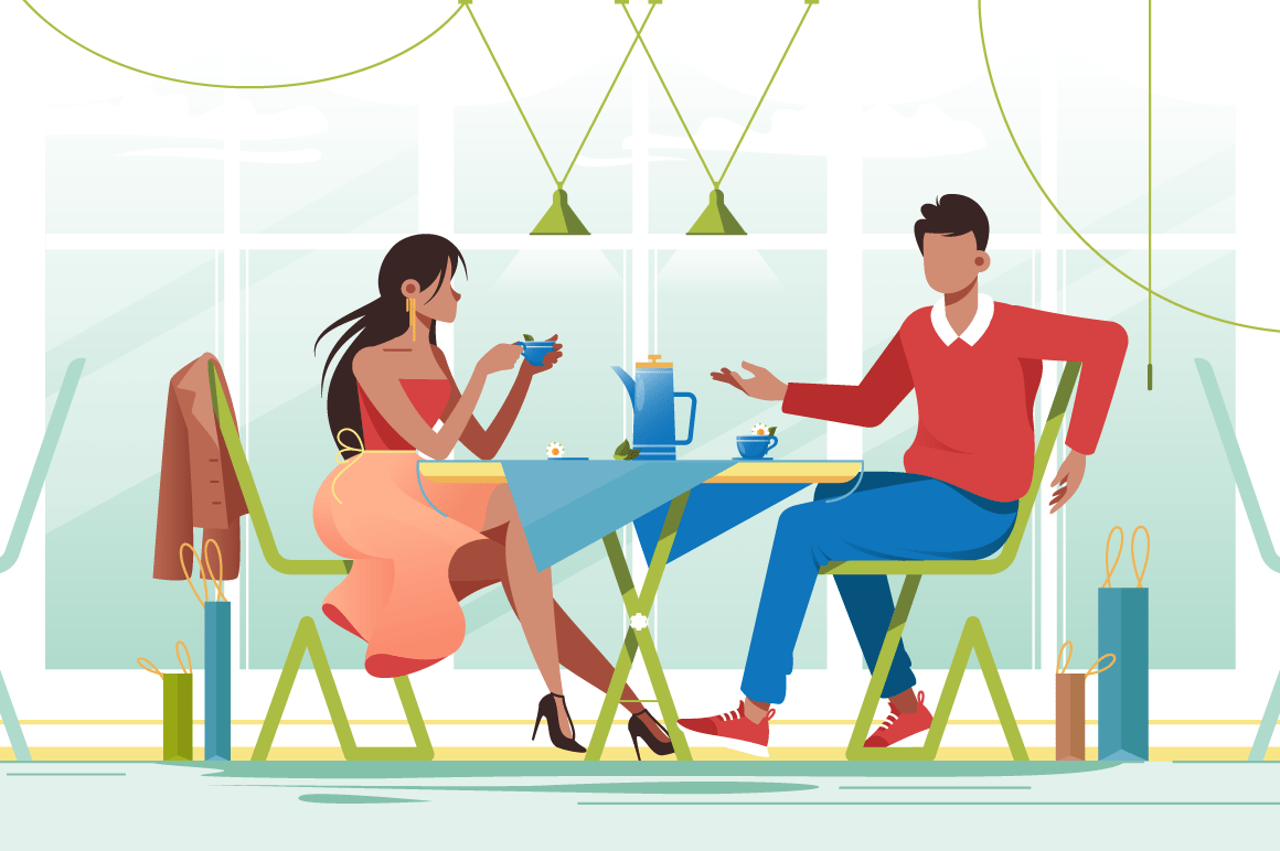 Flat young romantic couple in cafe on date.