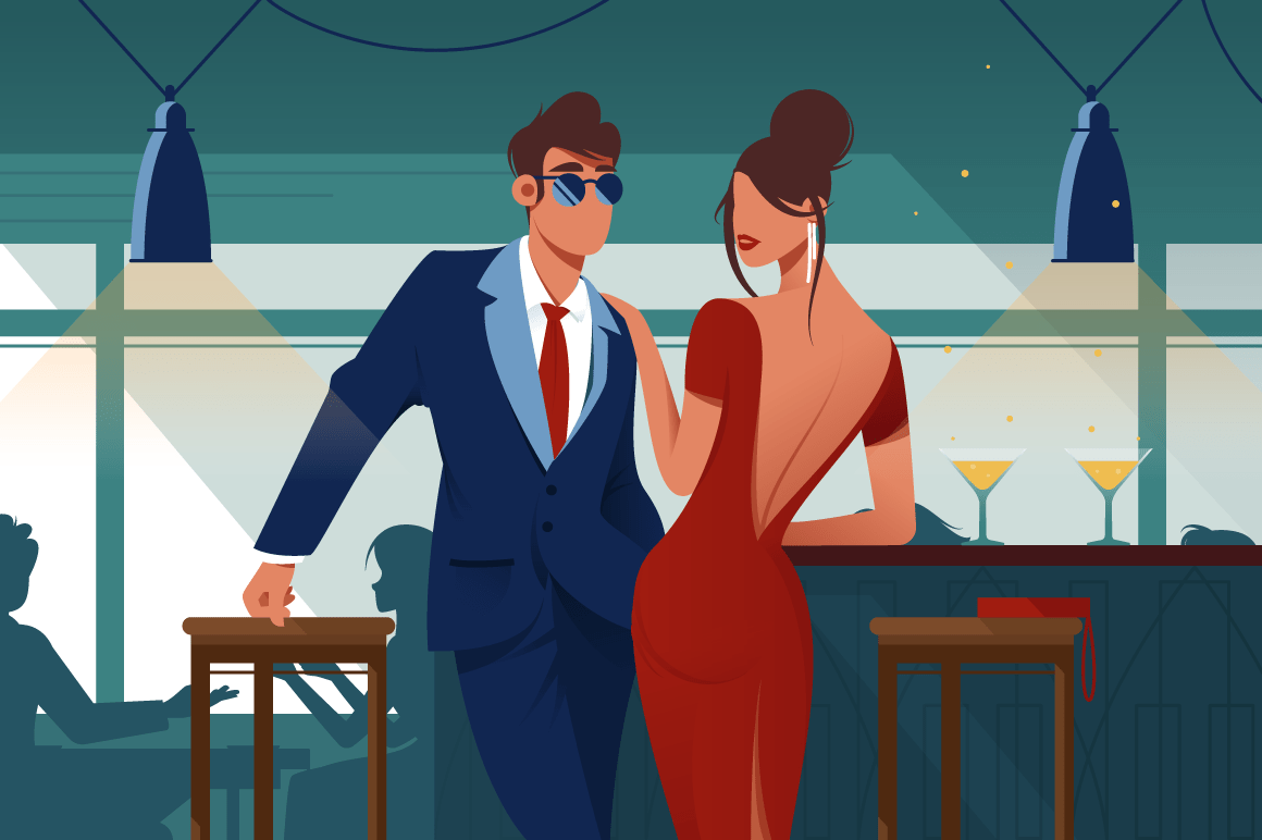 Flat young romantic couple in restaurant on date.