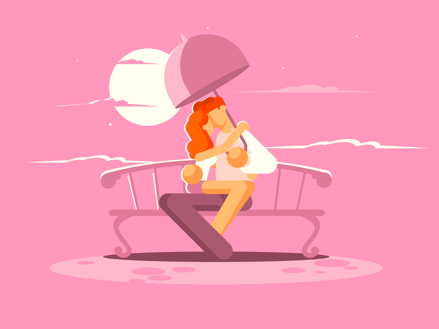 Loving couple under umbrella on bench illustration