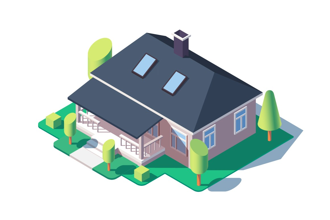 3d isometric large cozy one story house with green tree.
