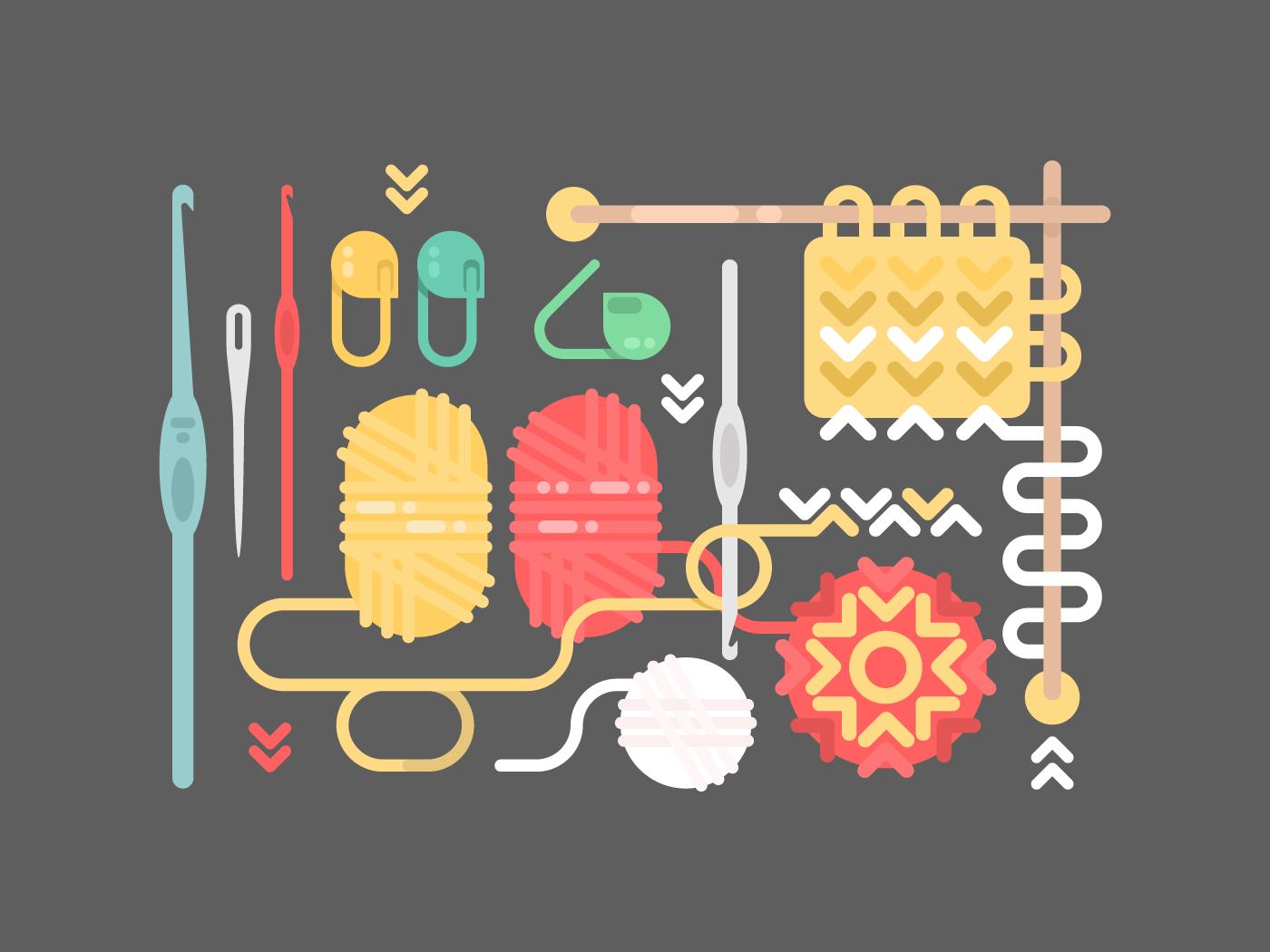 Knitting flat vector illustration