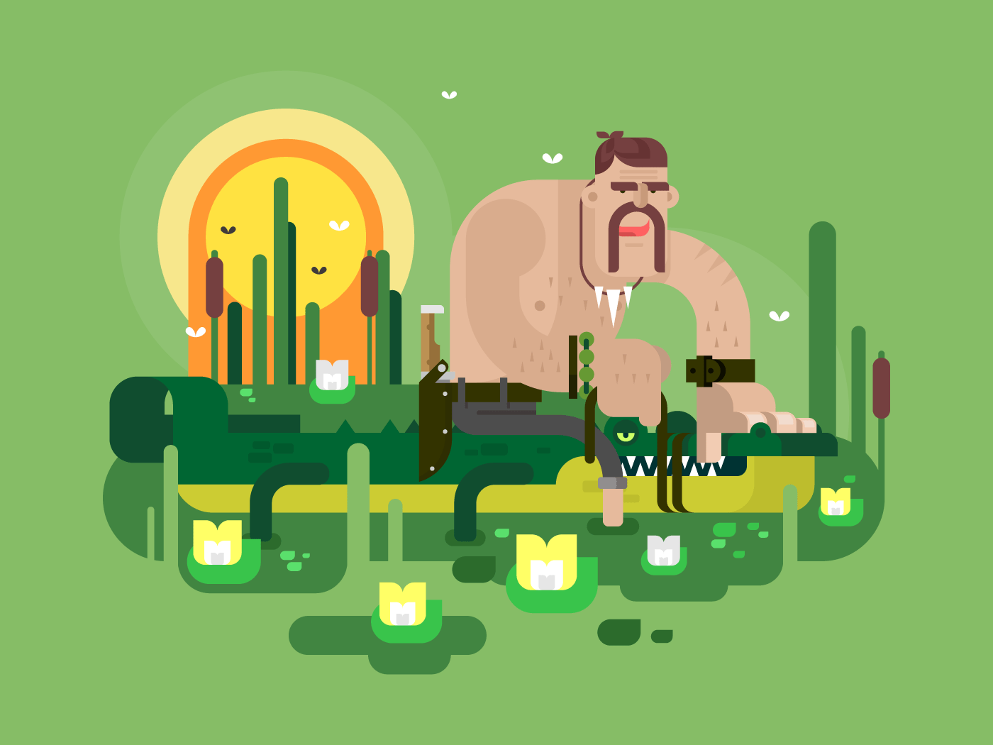 Crocodile hunter character flat vector illustration