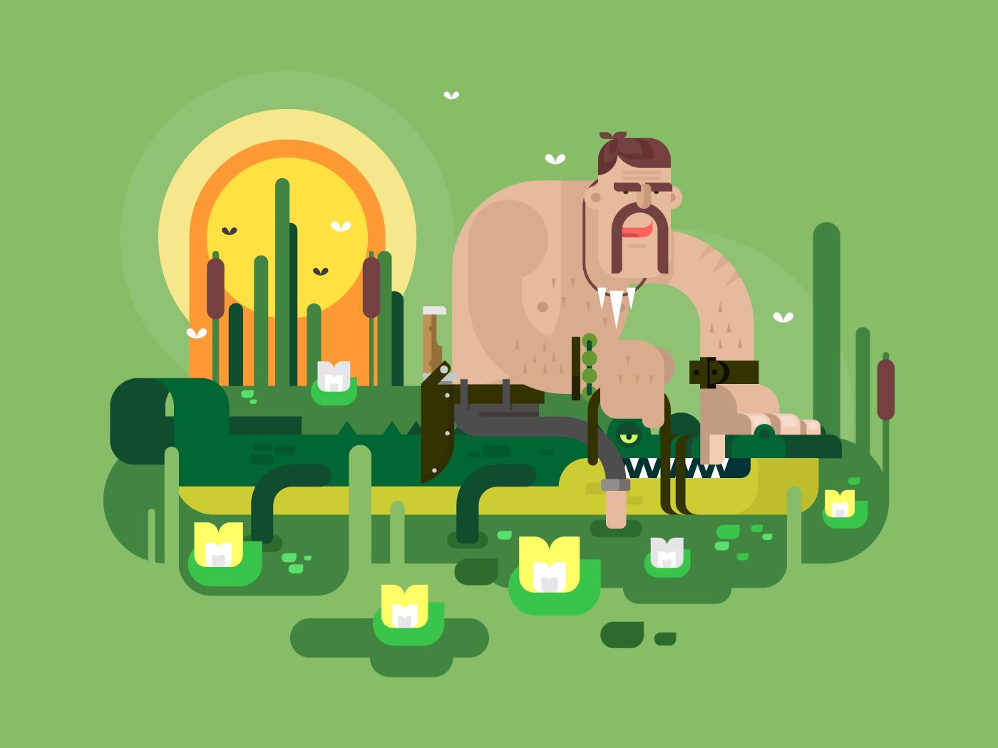 Crocodile hunter character flat vector illustration